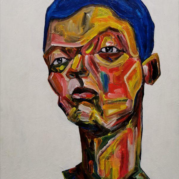 """Obraz s názvem """"Výzva"""" je namalovaný akrylovými barvami na dřevěnou desku. Motiv obrazu je abstraktně vyobrazený mužský portrét."""
