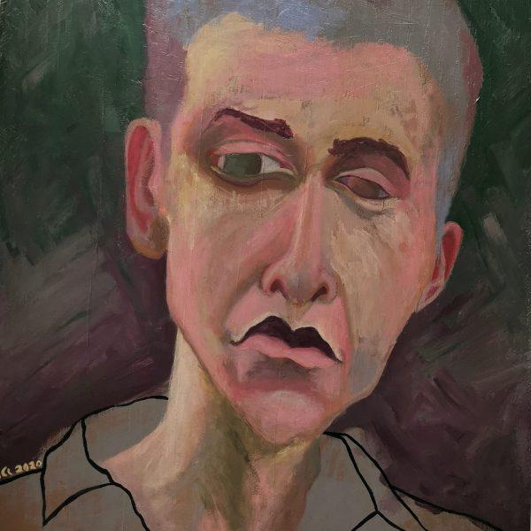 Obraz s názvem ''Hugo'' jenamalovaný akrylovými barvami na masivní desku. Motiv obrazu je mužský portrét.