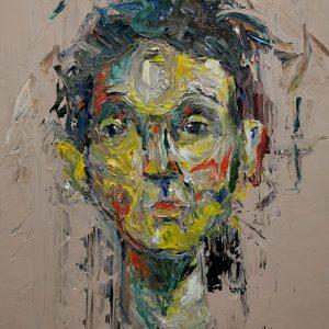 """Obraz s názvem """"Úmysly"""" je namalovaný akrylovými barvami na dřevěnou desku. Motiv obrazu je mužský portrét."""
